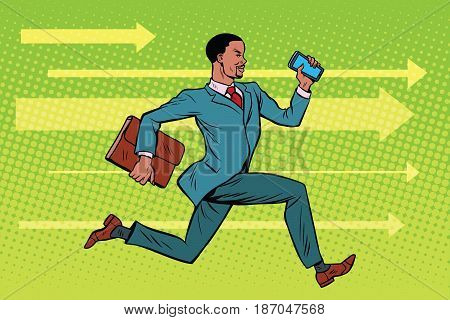 Businessman with a smartphone running fast forward. African American people. Pop art retro vector illustration drawing