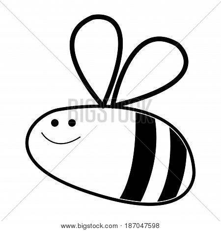 comic bee insect flying animal line vector illustration