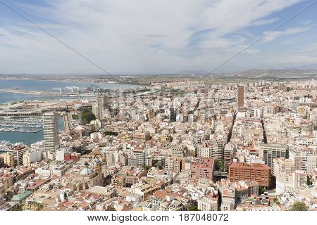 Alicante Spain. May 12 2017: Views of the port of the city of Alicante in Spain from the Castle of Santa Barbara.