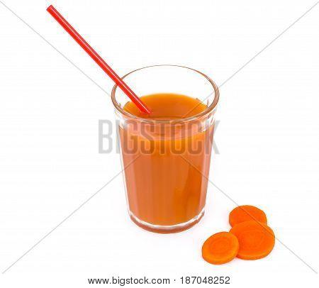 Fresh carrot juice with pulp. Studio Photo