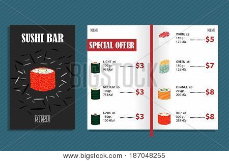Colorful japanese bar menu template with different types of sushi and prices vector illustration