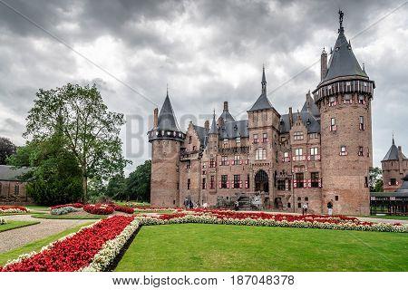 Haarzuilens Netherlands - August 4 2016: De Haar Castle located near Utrecht. It is the biggest and most luxurious castle in The Netherlands