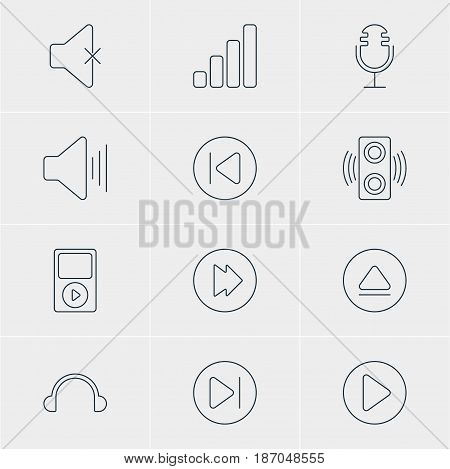 Vector Illustration Of 12 Music Icons. Editable Pack Of Start, Subsequent, Mp3 And Other Elements.