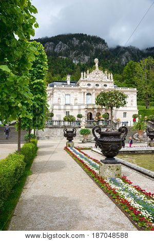 Linderhof, Germany - June 5, 2016: Linderhof Palace is a Castle in southwest Bavaria near Garmisch Partenkirchen. The Castle built by King Ludwig II of Bavaria in 19th century.