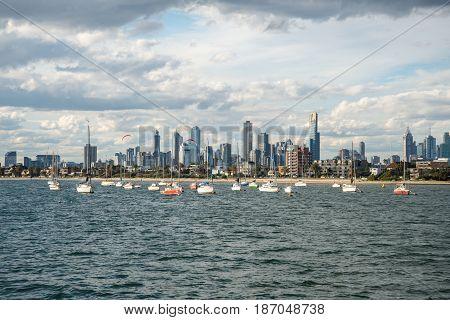 MELBOURNE, AUSTRALIA - MARCH 07 2015: Melbourne city view from Saint Kilda beach, Melbourne, Australia.