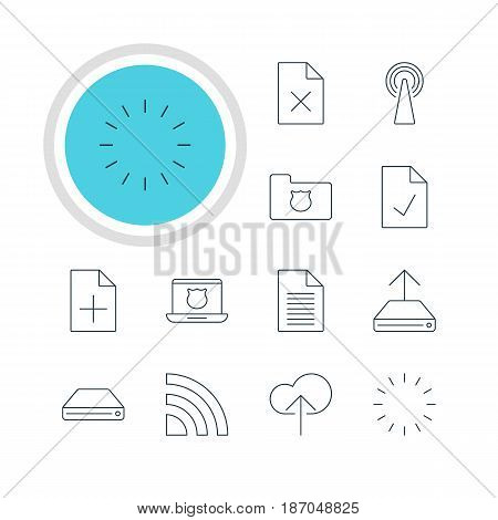 Vector Illustration Of 12 Internet Icons. Editable Pack Of Privacy Doc, Hard Drive Disk, Waiting And Other Elements.