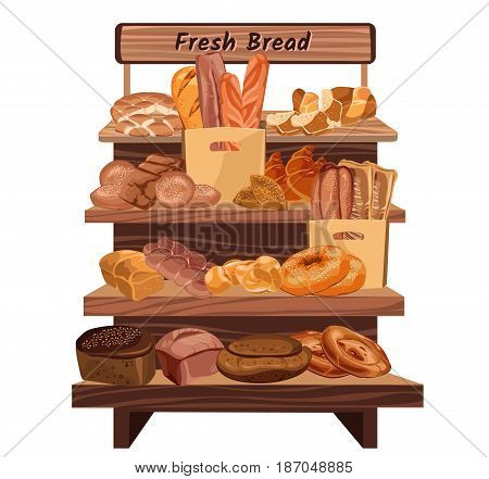 Colorful hand drawn bakery shop concept with different types of fresh bread lying on rack isolated vector illustration