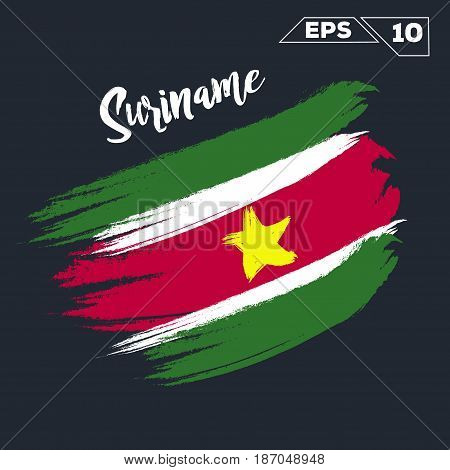 Suriname flag brush strokes painted vector illustration