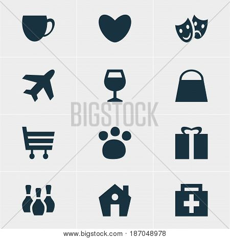 Vector Illustration Of 12 Location Icons. Editable Pack Of Shopping Cart, Coffee Shop, Drugstore And Other Elements.