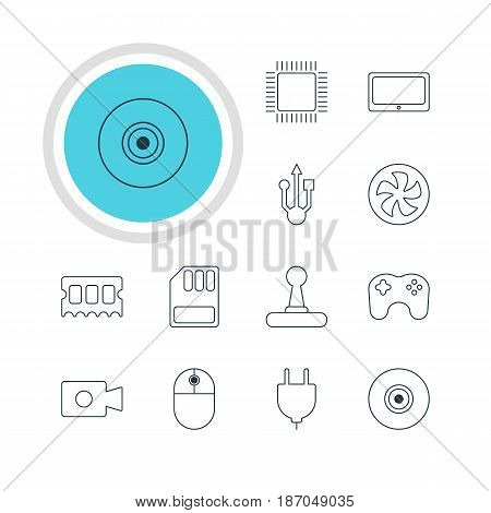 Vector Illustration Of 12 Laptop Icons. Editable Pack Of Cooler, Objective, Usb Icon And Other Elements.