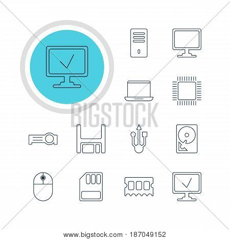 Vector Illustration Of 12 Computer Icons. Editable Pack Of Diskette, Cursor Manipulator, Storage And Other Elements.
