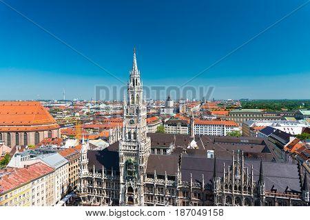Munich, Germany - June 7, 2016: Aerial view on Marienplatz town hall in Munich, Germany