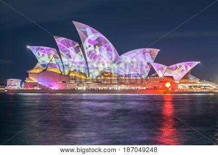 SYDNEY, AUSTRALIA - MAY 29 2015: Vivid Sydney light and sound festival at the Opera house, Sydney 2015.