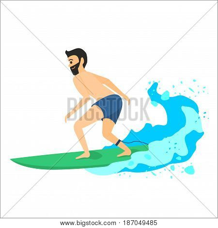 Vector illustration of surfer isolated on white background. Man riding on surfboard