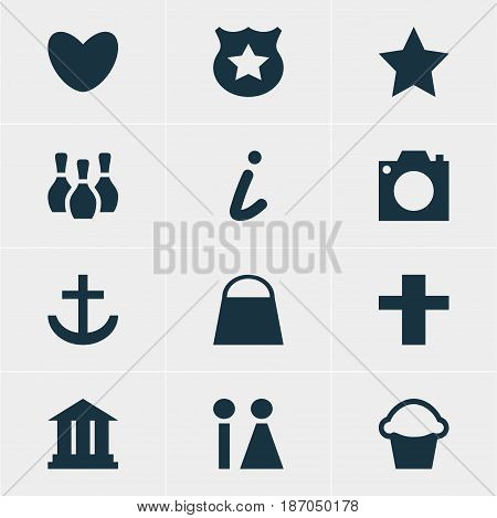 Vector Illustration Of 12 Check-In Icons. Editable Pack Of Anchor, Cake, Skittles And Other Elements.