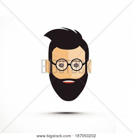 a mans head with glasses icon with a shadow