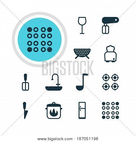 Vector Illustration Of 12 Restaurant Icons. Editable Pack Of Soup Spoon, Bread, Sieve And Other Elements.