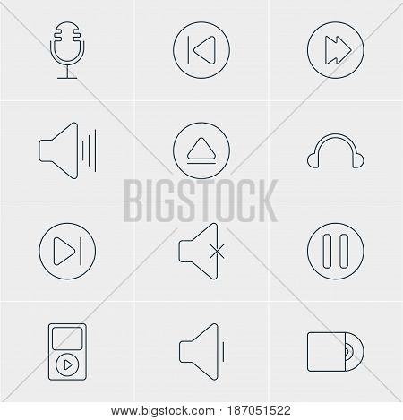 Vector Illustration Of 12 Music Icons. Editable Pack Of Advanced, Decrease Sound, Preceding And Other Elements.