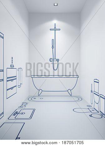 bathroom planning design, 3d rendering