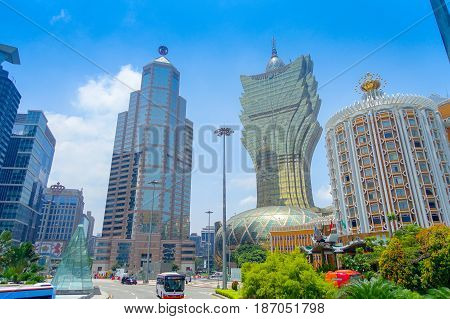 MACAU, CHINA- MAY 11, 2017: Beautiful and iconic hotel Grand Lisboa is a very big hotel and restaurant, also the oldest casino in Macau city.