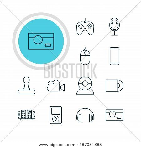 Vector Illustration Of 12 Device Icons. Editable Pack Of Camcorder, Headset, Photography And Other Elements.
