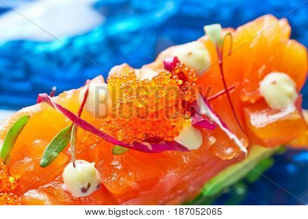 Salmon and avocado Tartare with soya and mustard mayonnaise Tartar