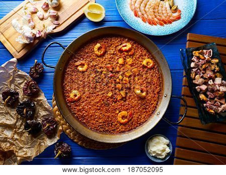Seafood Paella senyoret rice from Valencia Spain