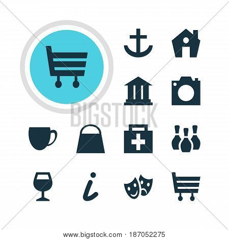 Vector Illustration Of 12 Check-In Icons. Editable Pack Of University, Anchor, Handbag Elements.
