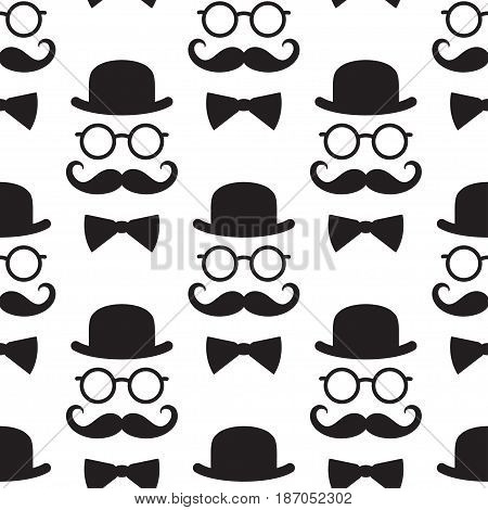 Seamless pattern with gentlemen. Black and white illustration. Suitable for textiles wallpapers wrappers covers gift wrapping.