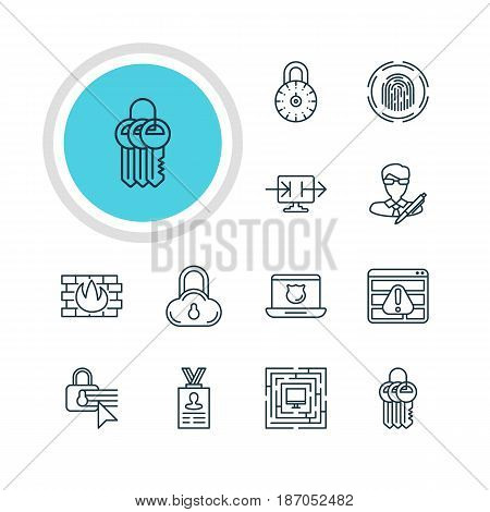 Vector Illustration Of 12 Data Protection Icons. Editable Pack Of Confidentiality Options, Send Information, Safe Storage And Other Elements.