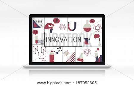 Illustration of biochemistry study scientific research on laptop