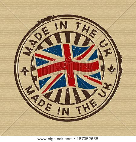 Vector stamp with flag of GB, circular lettering made in the UK on wooden background