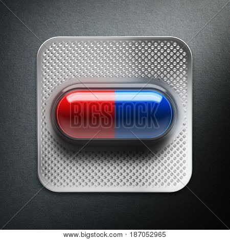 Red and blue pills in a blister on gray background. 3d rendering