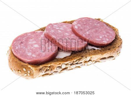 Sandwich of multi-grain bread with salami sausage. Studio Photo