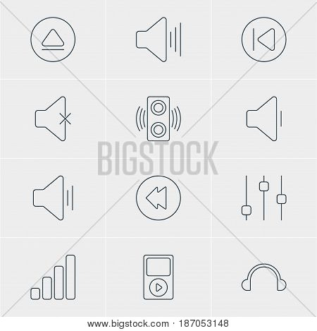 Vector Illustration Of 12 Melody Icons. Editable Pack Of Reversing, Acoustic, Rewind And Other Elements.