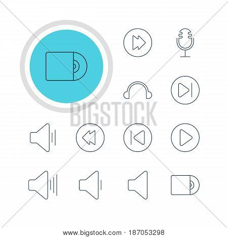 Vector Illustration Of 12 Melody Icons. Editable Pack Of Speaker, Mike, Start And Other Elements.
