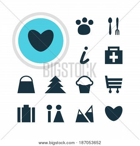 Vector Illustration Of 12 Location Icons. Editable Pack Of Cafe, Cake, Toilet And Other Elements.