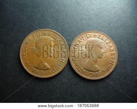 Predecimal vintage Australian One Penny Kangaroo coin.