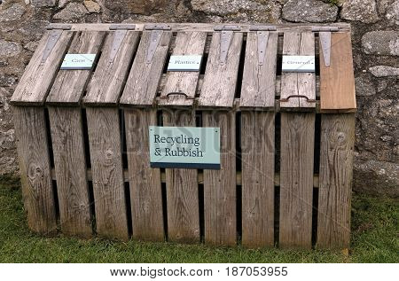 Wooden Recycling And Rubbish Centre With Labels For Cans, Plastics And General Waste