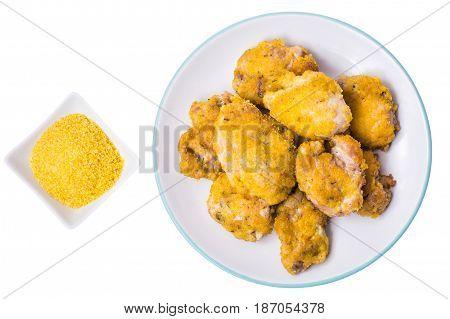 Fried pieces of meat in breadcrumbs. Studio Photo