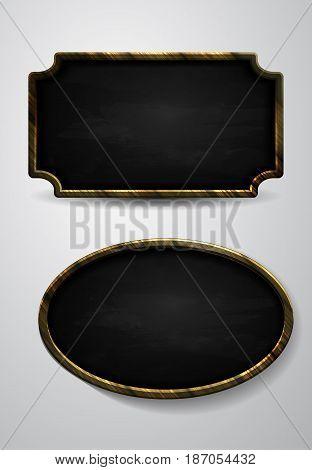 Wooden frame, vector chalkboard set isolated on white