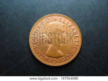 Predecimal vintage Australian One Penny copper coin.