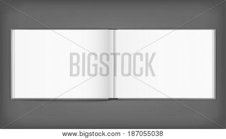 Vector blank of open hardcovered album on neutral grey background. Using mesh. Template