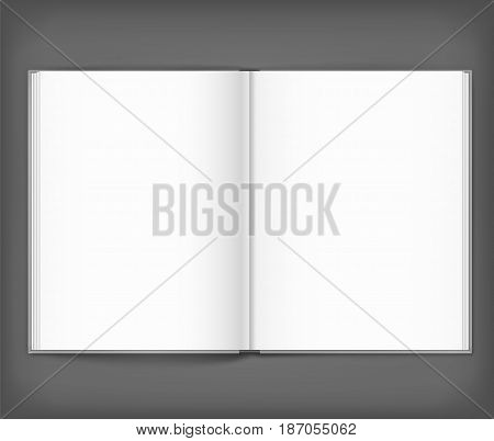 Vector blank of open hardcovered book on neutral grey background. Using mesh. Template