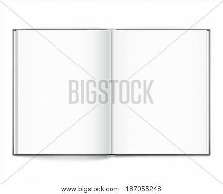 Vector blank of open hardcovered book on white background. Using mesh. Template