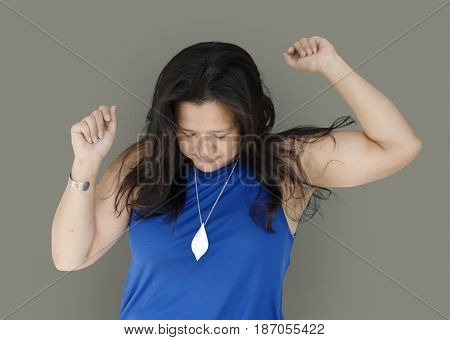 Chubby Woman Dancing Gesture