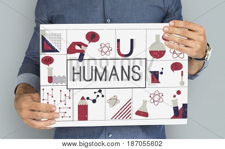 Man holding banner of biochemistry study scientific research