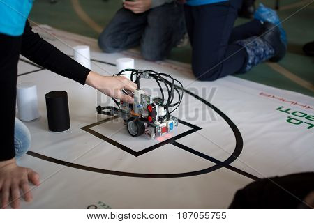 Yoshkar-Ola, Russia - February 12, 2017 Photo of robot tests by children in the children's robotics club in Yoshkar-Ola