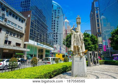 MACAU, CHINA- MAY 11, 2017: Statue of Jorge Alvares at Macau. Portuguese Alvares is considered to be the founder of Macau.