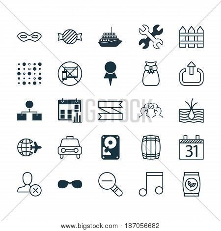 Set Of 25 Universal Editable Icons. Can Be Used For Web, Mobile And App Design. Includes Elements Such As Blank Ribbon, Date, Toffee Candy.